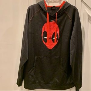 Marvel Red/Black Deadpool Hoodie Sweatshirt XL